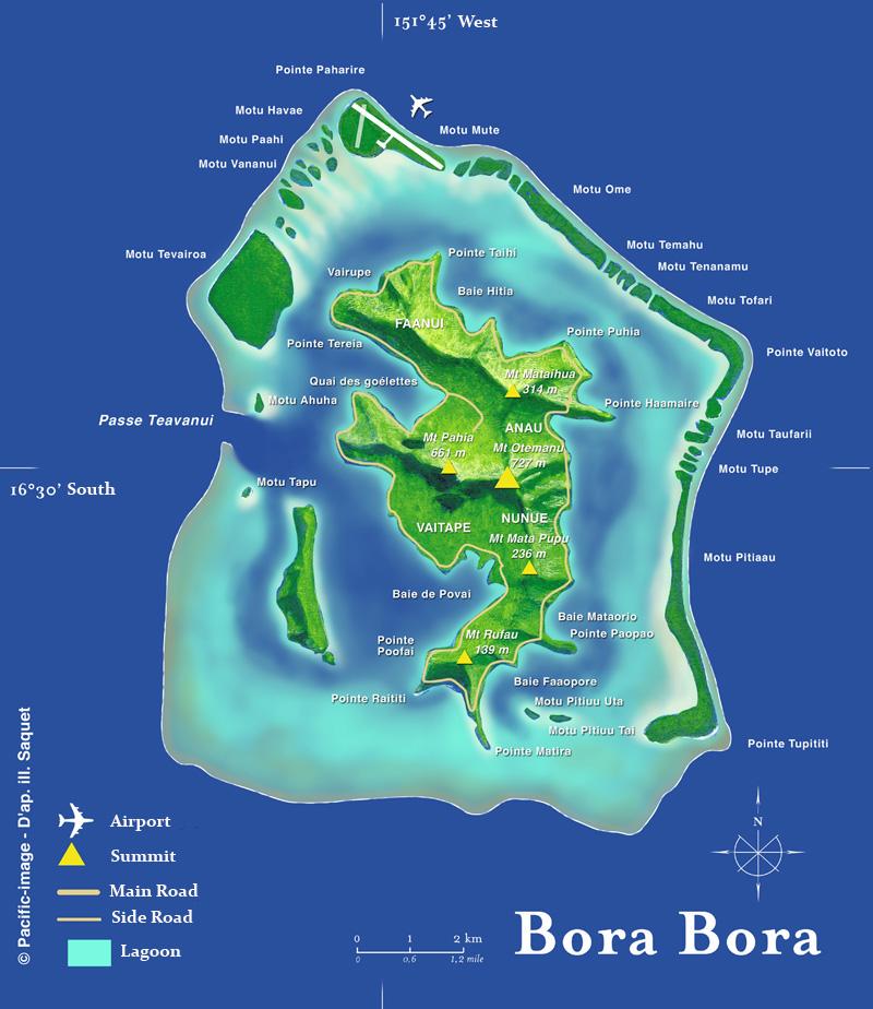 Карта острова Бора-Бора